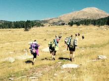 campaments, excursió, muntanya, motxilla, cim