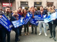 Representació de la FCEG a la capçalera de la manifestació #VolemAcollir