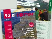 el correu 90, comunicació, revista, portada, excursionisme i muntanya, eix del curs